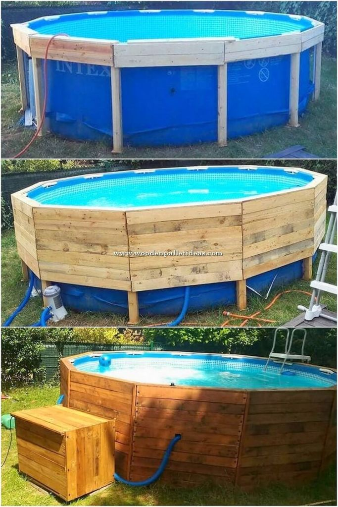 example of wood covered portable pool