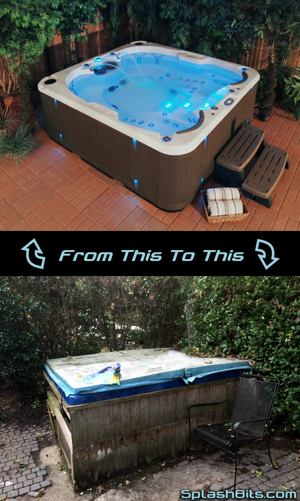 old and new hot tubs